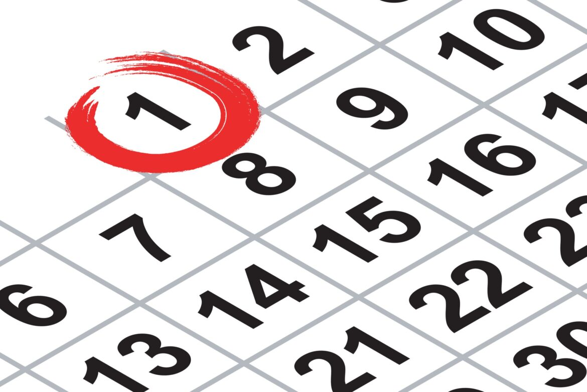 Isometric calendar fragment - first day of month with red mark over white background